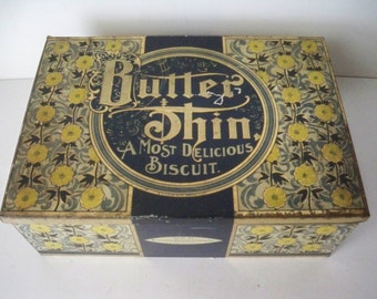 1940s Vintage Kitchen Advertising Tin for Butter Thin a most delicious Biscuit made by National Biscuit Co in USA