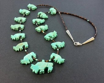 Hand Carved All Buffalo Fetish Necklace with Black Pen Shell Heishi Beads