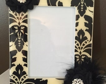 Damask embellished picture frame