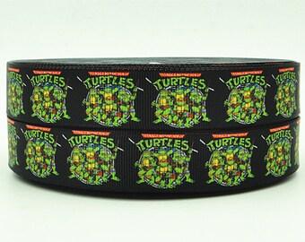 "7/8"" wide Ninja Turtles  ribbon/3 or 5 yards superhero/ hair bow/ grosgrain ribbon/ print/1"""