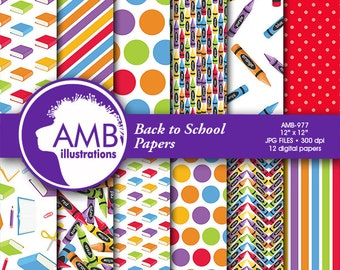 School digital papers, Classroom scrapbook papers, painting paper, crayon papers, Back to school papers, School papers, comm-use, AMB-977