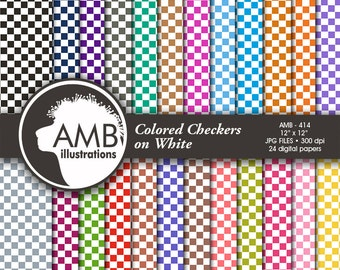 Checkered Digital Papers, Checkers Color on White Digital Backgrounds, Checkered Pattern, commercial use, AMB-414
