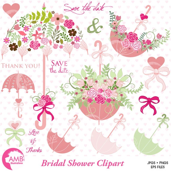 Wedding clipart Bridal Shower clipart Save the date clipart