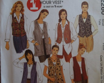 McCalls 2260, size 8-10, unlined vests in two lengths, UNCUT sewing pattern, craft supplies, misses, womens,