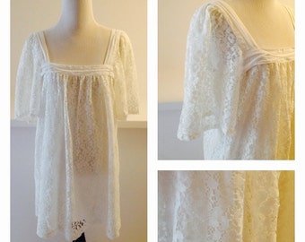 White Lace Babydoll Dress with Flutter Sleeves
