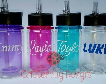 Custom kids personalized Acrylic Double Walled Tumbler with fold down straw, pink, purple, aqua, clear water bottle, children's cup bpa free