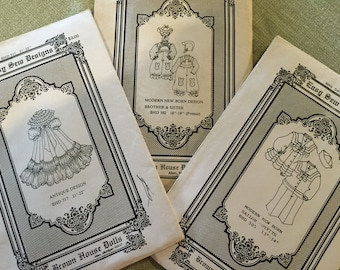 Three vintage Brown House Doll clothes patterns
