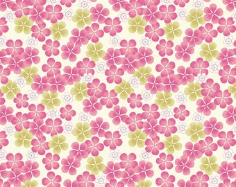 Lewis & Irene Patchwork Quilting Fabric Tropical Flowers A135.3 Pink