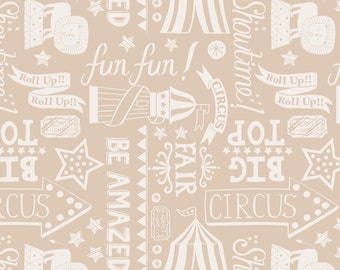 Lewis & Irene Patchwork Quilting Fabric Vintage Circus A142.2 Roll up! Roll up! natural