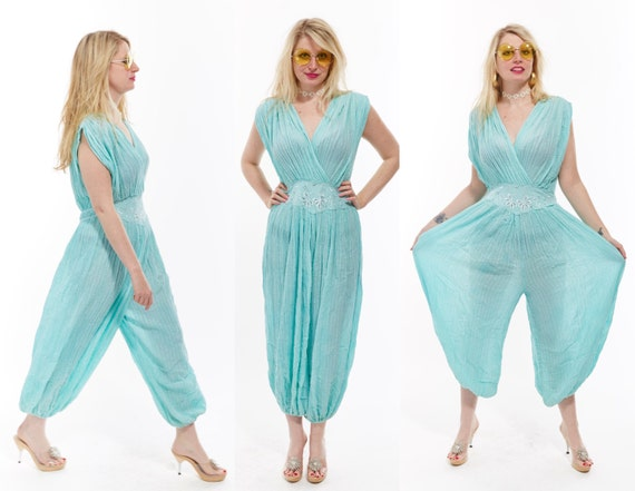 Vtg 80s Seamfoam Green INDIA Cotton GUAZE Bubble JUMPSUIT Onesie One Piece Resort Maxi Caftan Hippie Boho Gypsy Festival Beach Semi Sheer os