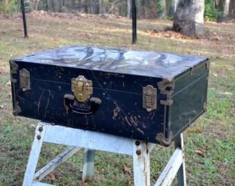 Vintage Metal Trunk Suitcase Black Gold Tone Hardware Chippy Rustic Storage Panchosporch