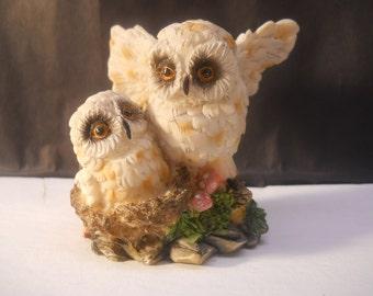 Owls Together Vintage Figurine Statue #277