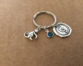 Monkey charm key chain with birthstone