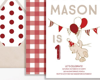 Boys 1st Birthday Invitation Teddy Bears Picnic Balloons Red White Brown Milestone 1st 2nd 3rd 4th 5th 6th Bear First Birthday Boy Teddies