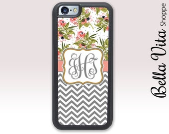Floral iPhone 6 Case, Monogrammed iPhone 6 Plus Case Chevrons Flowers Monogram 1245 I6S
