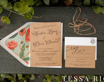 Wedding Invitation   Floral Rustic Invite   DEPOSIT