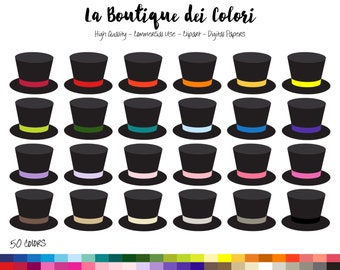50 Rainbow Party Top Hat Clip art, Digital Graphics PNG, colorful Magicians hats Planner Stickers Clipart graphics, Commercial Use