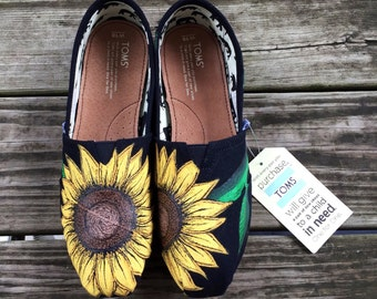 Custom Hand Painted Sunflower Toms in Black