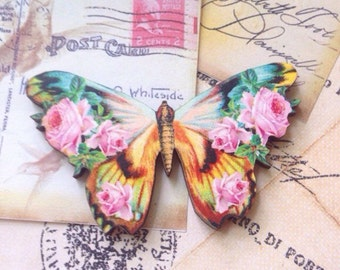 Floral Print Wooden Butterfly Brooch,Summer,Spring,Shabby Chic,Heirloom,Woodland,Vintage Inspired Jewelry,Rustic,Gift