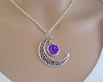 Crescent Moon & Galaxy Purple Faux Druzy Necklace, Boho, Bohemian, Moon Child, Gypsy, Witch, Witchy, Nature, Gift, Festival Jewelry