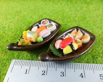 2 Sushi Bento Japanese Food Dollhouse Miniatures Food Sashimi Boat, magnet,decoration