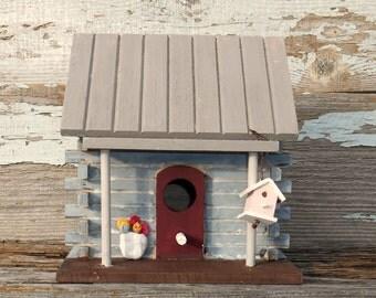 Birdhouse, Decorative Birdhouse, Indoor Birdhouse, Log Cabin Birdhouse, Rustic Birdhouse