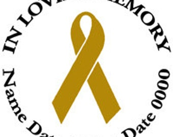 In Loving Memory Round Memorial GOLD Ribbon Childhood Cancer Vinyl Decal Sticker