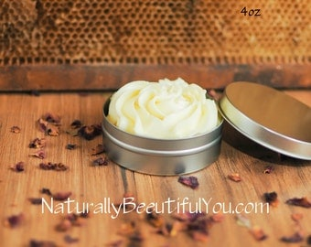 4 oz Whipped Shea Butter- Whipped Cocoa Butter-- FREE SHIPPING- Homemade Body Butter- Homemade Lotion- Natural Body Butter- Organic Lotion