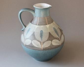 70s 80s vase ceramic West German Pottery, vintage jug jar pitcher, home decor, bulbous handle, gift wife girlfriend sister, grey blue cream