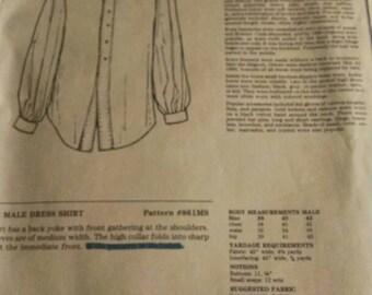 Unique patterns of historical fashion men's shirt. Reenactment, sewing, civil war, Victorian, cowboy, pioneer