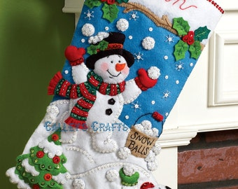 "Bucilla ~ Snowman Games ~ 18"" Christmas Stocking Kit #86301 DIY"