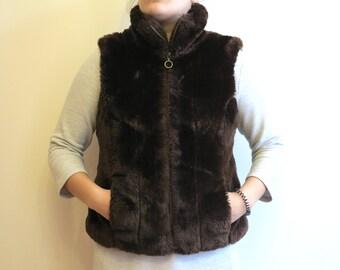 Chocolate Brown Faux Fur Vest Womens Warm Waistcoat Medium Size