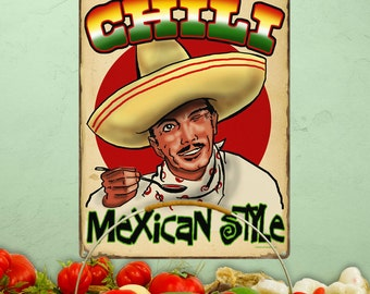Chili Mexican Style Distressed Metal Sign - #37347