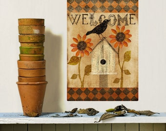 Welcome Fall Flowers Birdhouse Wall Decal - #70918