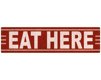 Eat Here Vintage-Style Wall Decal - #44446