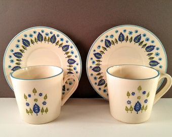 Stetson Marcrest Alpine Swiss Chalet Coffee Cups and Saucers. Green & Aqua Blue Nordic Leaf. Set of 2. 1960's Mid Century Modern Kitchen.