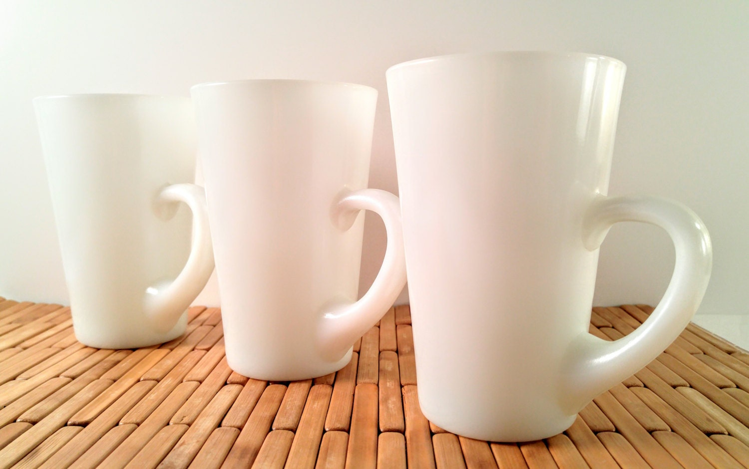 Vintage Milk Glass Coffee Mugs Set Of 3 Large White Cone