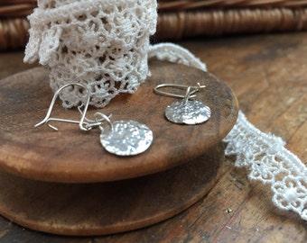 Handmade Sterling Silver Textured Dish Earrings