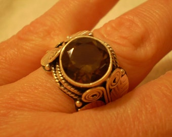 Smoky Quartz (Natural) 925 Antiqued Sterling Silver Ring Size 8.50