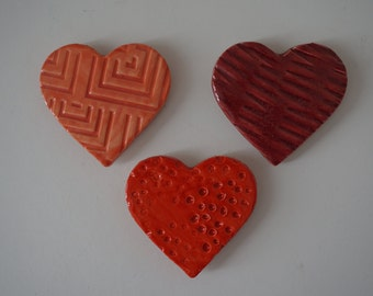 Handmade Ceramic Heart Magnets- set of 3