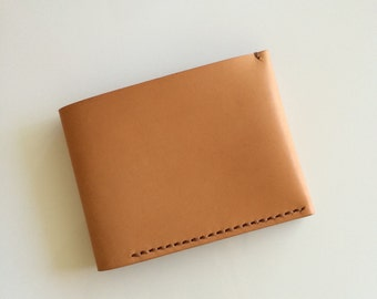 Hand-stitched leather wallet/ Tan/ Personalised leather wallet/Simple & slim wallet / Men's wallet/ Gift for him