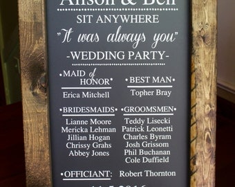 WEDDING PARTY 1 - Bridal Party Chalkboard Easel Sign Wedding Day Decor Wedding Party Aisle Decor Calligraphy Rustic Sign Welcome Wedding