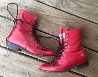 Vintage 70s/80s Cherry Red JUSTIN Lace Up Ropers Style L503