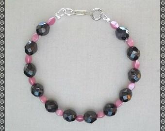 pink bracelet, pink and black, black and pink, hematite bracelet, hematite