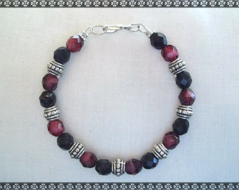 red bracelet, red beaded bracelet, dark red bracelet, dark red, silver
