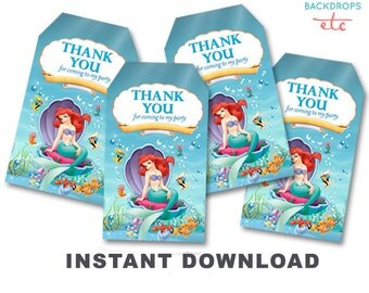 The Little Mermaid Thank You Tags // Favor Tag // Printable INSTANT DOWNLOAD
