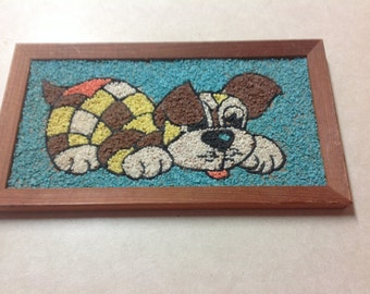 Vintage mid century pebble gravel art playful puppy dog picture framed