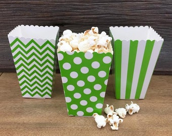 Green Stripe, Chevron and Polka Dot Popcorn Boxes- Treat Boxes- Birthday, Christmas, Baby Shower Party Supply - 36 Ct.