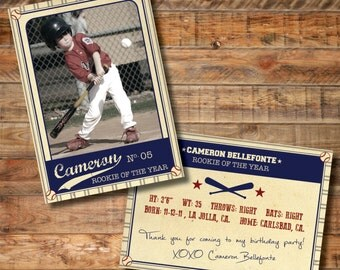 Vintage Baseball Trading Card - Thank You Card - Party Favor - Personalized Custom Card - DESIGN ONLY (does not include printing)