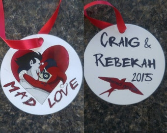 Joker and harley quinn mad love ornament
